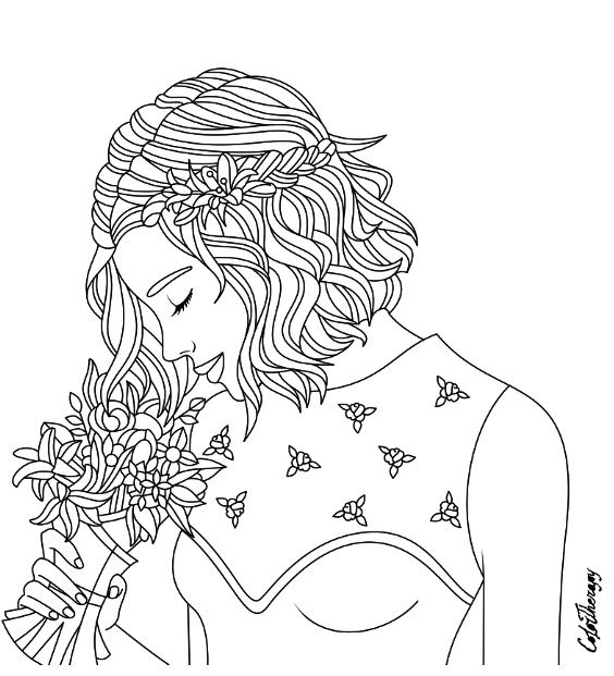 Girl With Bouquet Coloring Page Color Therapy App Try This App For Free Get Colortherapy Me Cute Coloring Pages Color Therapy App Coloring Pages
