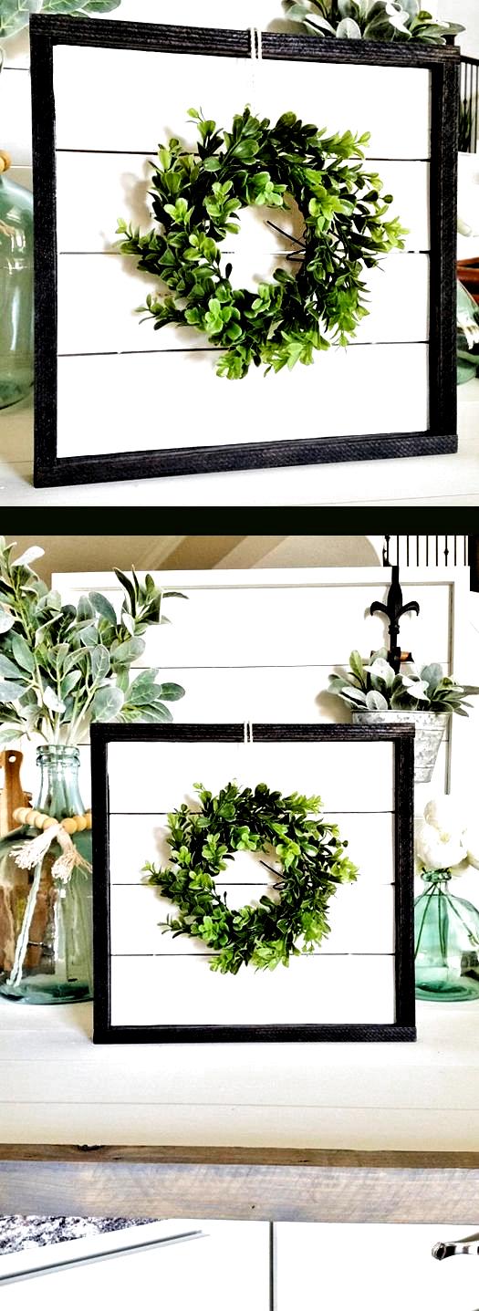 Photo of Shiplap Frame With Eucalyptus Wreath. Shiplap Sign. Shiplap Display. Shiplap Wal…