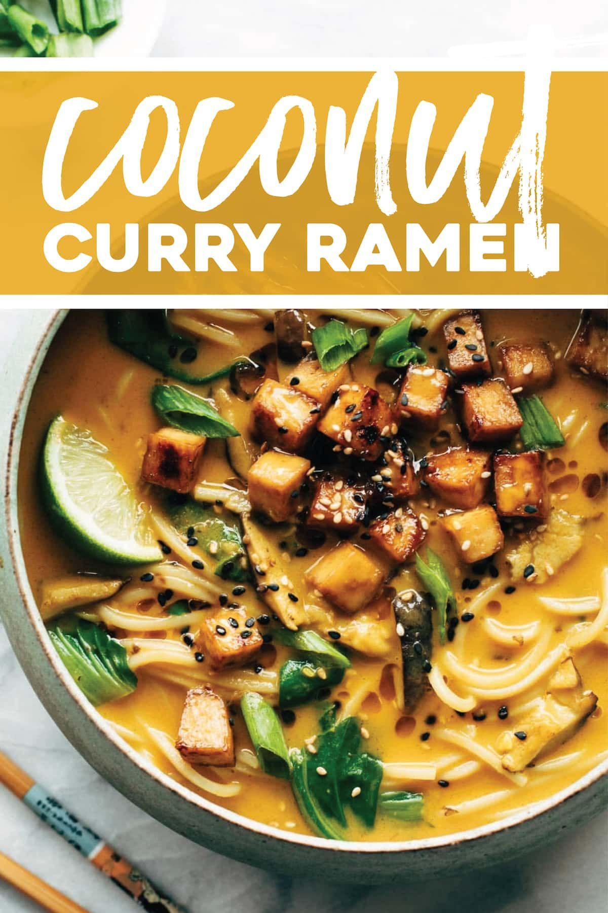 Curry Ramen Coconut Curry Ramen with a creamy golden broth, pan-fried vegetables, cubes of golden brown tofu, and steamy delicious ramen noodles. Bonus: it's vegan! | Coconut Curry Ramen with a creamy golden broth, pan-fried vegetables, cubes of golden brown tofu, and steamy delicious ramen noodles. Bonus: it's vegan! |