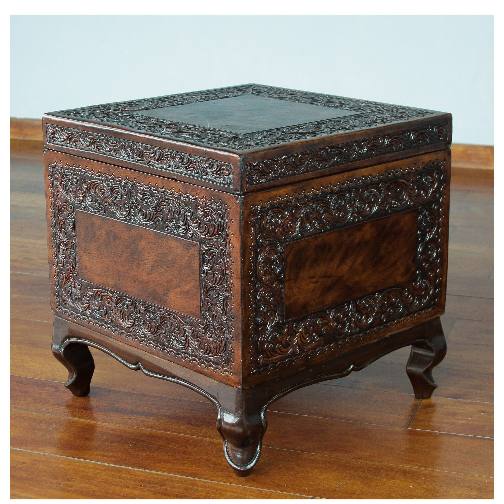 Novica Traditional Dark Tooled Leather and Mohena Wood with Unique Cabriole Legs and Removable Lid Cube Storage Ottoman