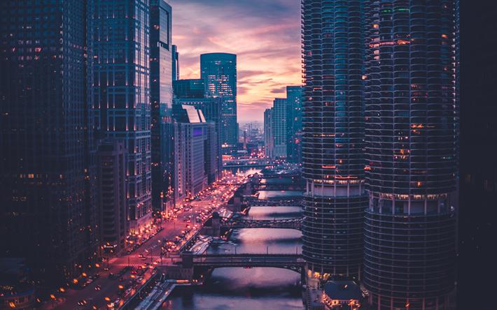 Descargar Fondos De Pantalla 4k Chicago Puesta De Sol Noche Ciudad Puentes Estados Unidos Rascacielos Illinois Estados Unidos Besthqwallpapers Com Fondo De Pantalla De La Ciudad Paisaje Urbano Ciudades