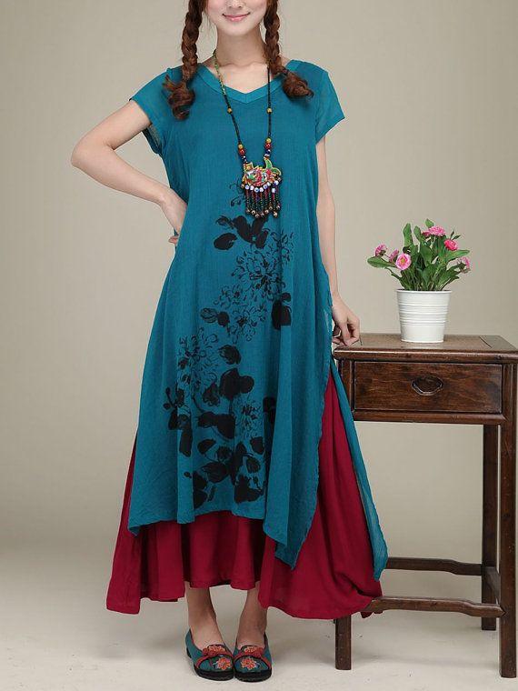 Blue cotton dress original dress maxi dress by originalstyleshop