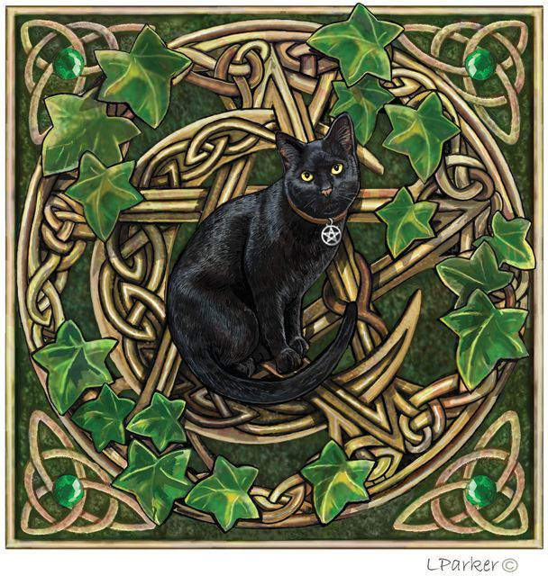 Black Cat With Pentagram And Ivy Greeting Card By Lisa
