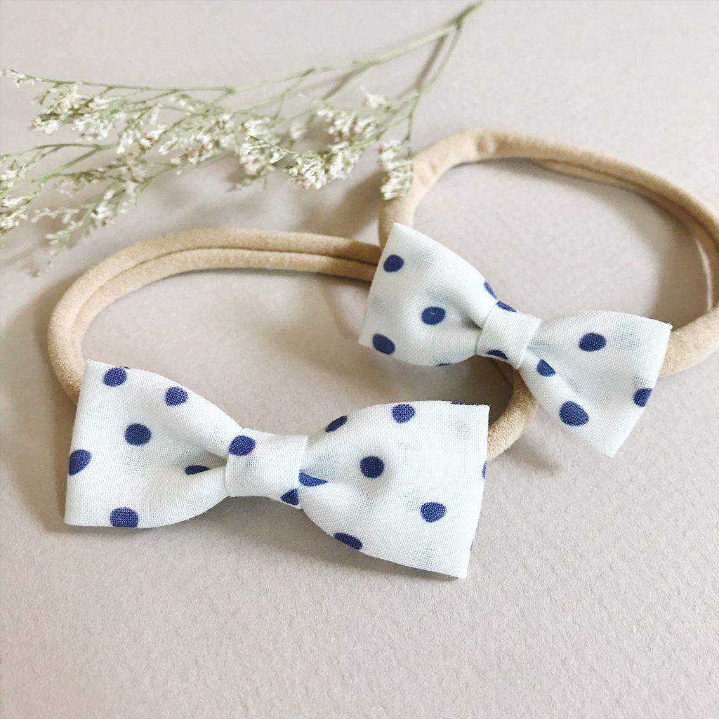 Alligator Clip or Nylon Headband White Dots Small Bow