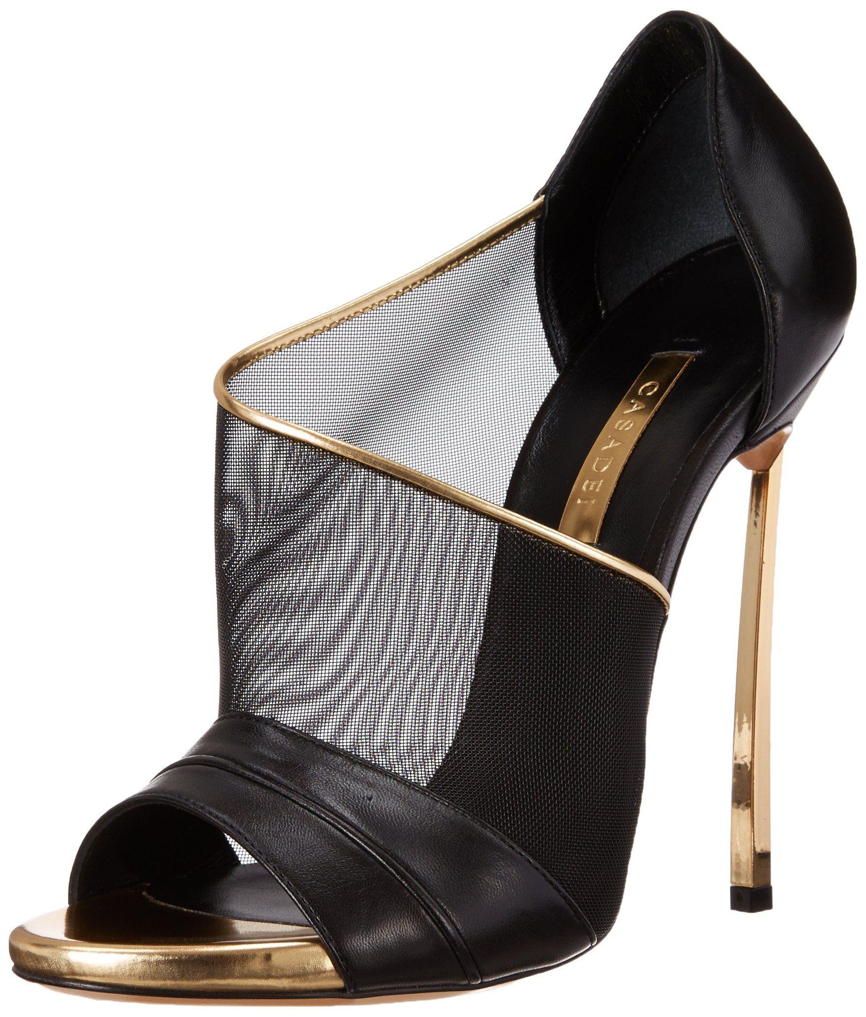 Casadei Women's Gold Heel Mesh Dress Sandal, NeroOro, 36 EU