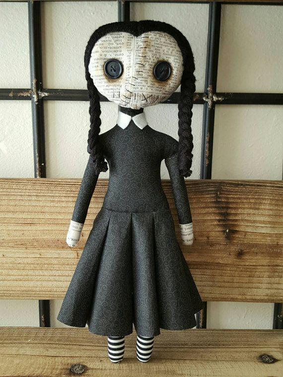 Handmade Wednesday Addams Doll by MoodyVoodies on Etsy | Art Doll ...