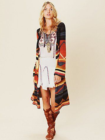 Long Pattern Hooded Cardi