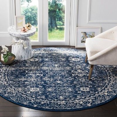 5 1 X5 1 Loomed Medallion Round Area Rug Navy Safavieh Adult Unisex Size 5 1 Round Blue Ivory Round Area Rugs Affordable Rugs Rugs In Living Room