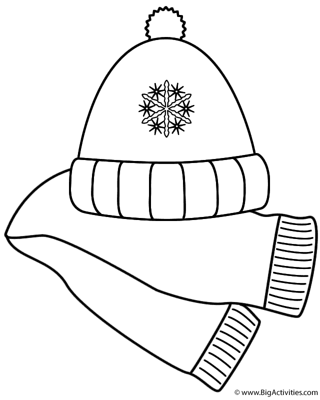 Scarf And Winter Hat Coloring Page Clothing In 2021 Coloring Pages Winter Winter Hats Coloring Pages
