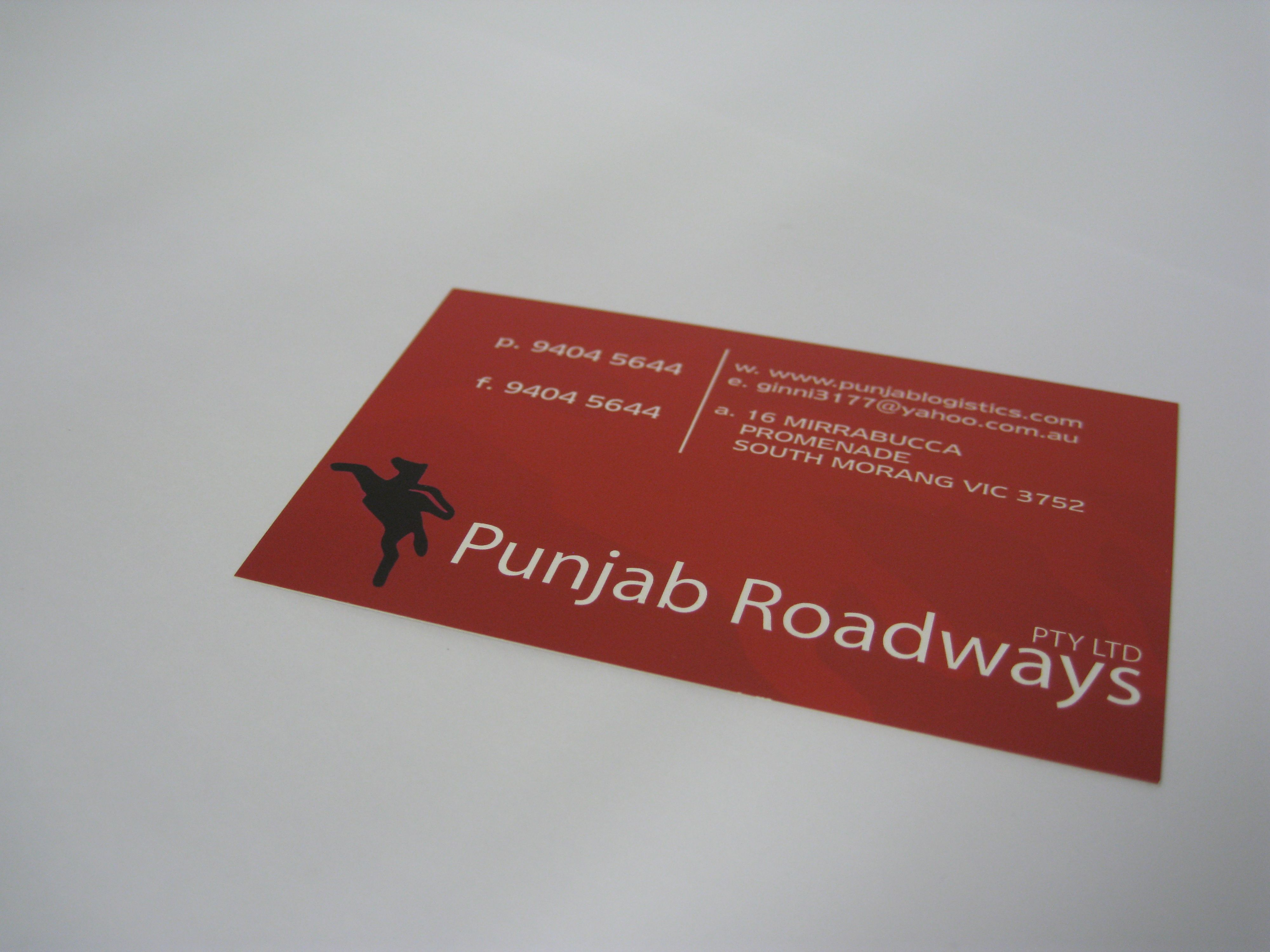 Business Cards Designed And Printed For Punjab Roadways Thank You Business Card Inspiration Printed Cards Business Card Design