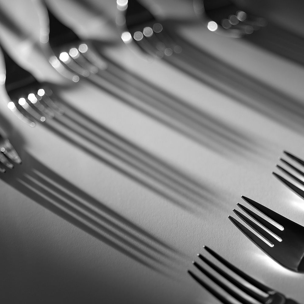 Forks, lights and shadows. © Inaki Caperochipi Photography