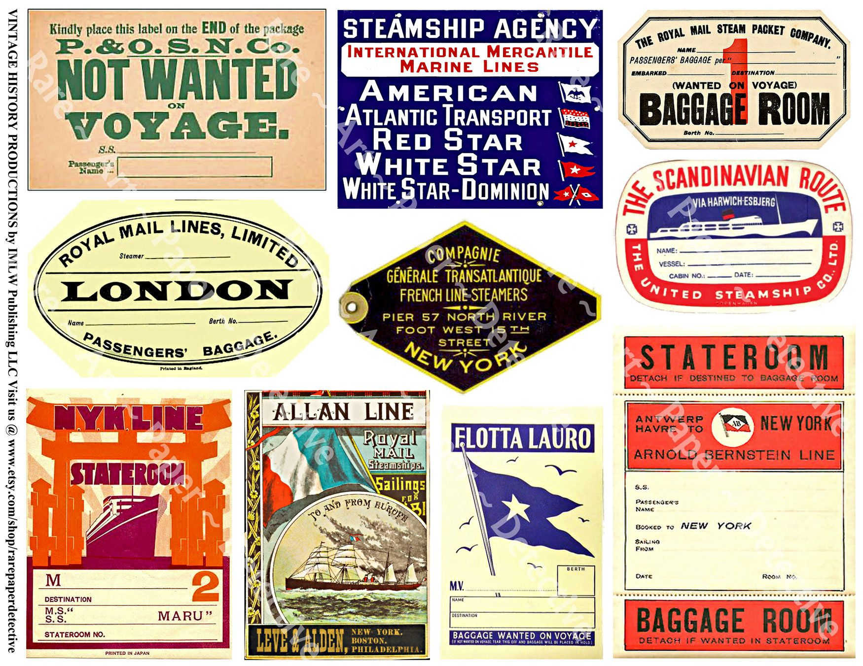 Steamship travel stickers printed sheet cruise baggage labels cabin luggage decals suitcase decal travel trunk labels art papers