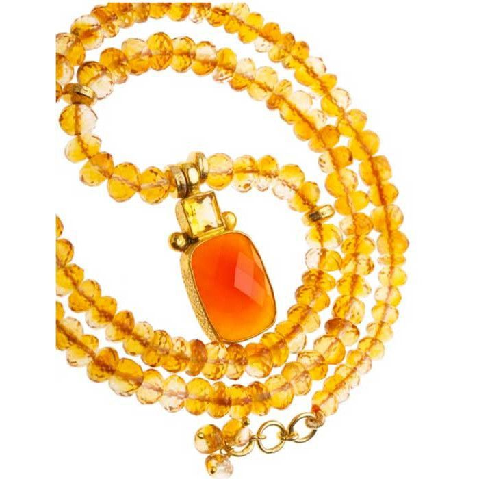 Vasant Designs Citrine Necklace with Citrine Carnelian Pendant NF001