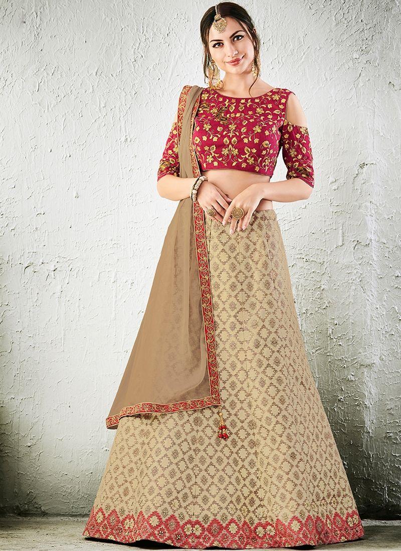 e949252f30 Shop Jacquard Silk Cream Color Lehenga Choli Online | Lehenga Choli ...