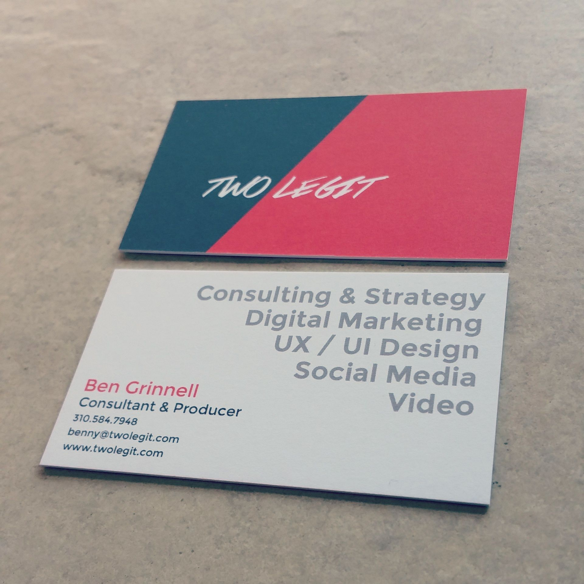 first round of our new business card pretty simple design
