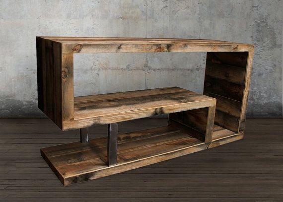 Consola de madera reciclada por atlaswoodco en etsy for Cosas con madera reciclada