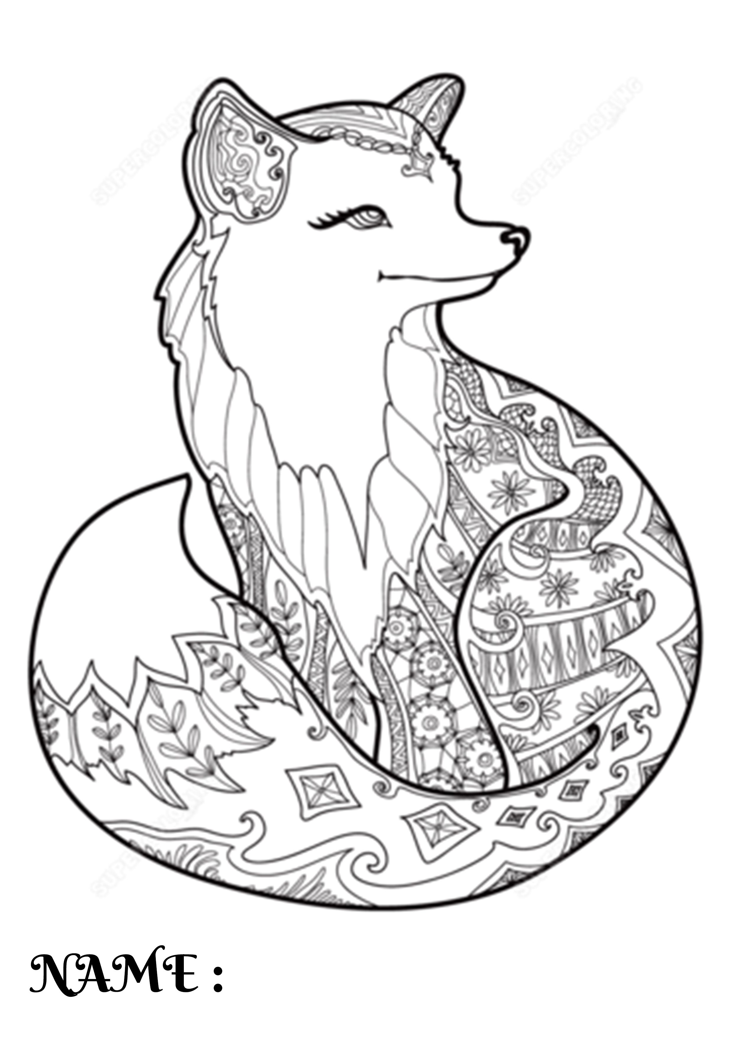 Coloring Page Fox Fox Animal Coloring Pages Fox Coloring Page Animal Coloring Pages Mandala Coloring Pages