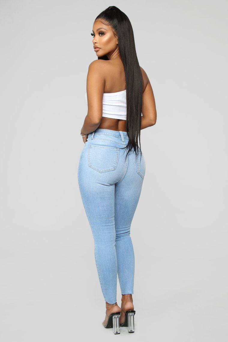 One Love High Rise Skinny Jeans Light Blue High rise