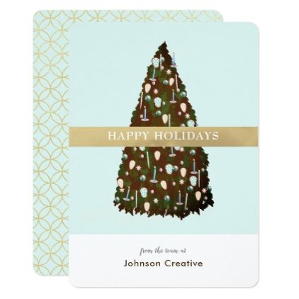 Editable Color ChristmasTree Business Holiday Card - invitations - Business Event Invitation
