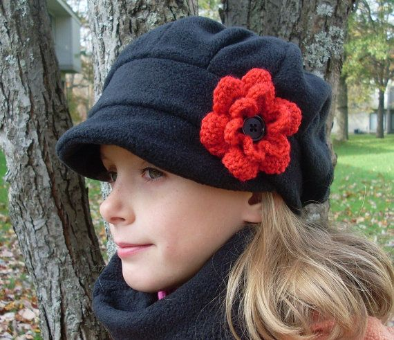 Black satin lined girls winter newsboy hat with red crochet flower ...