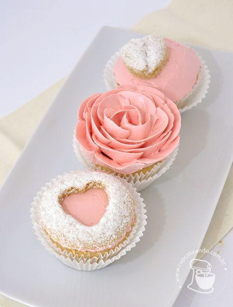 Decoração de cupcakes nevados, com corações, lindos! Passo a passo aí no link!