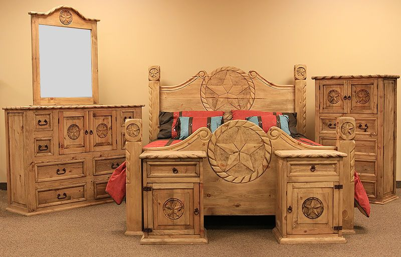 Country Rope And Star Rustic Bedroom Set With Natural Finish Rustic Bedroom Furniture Rustic Bedroom Sets Western Bedroom Decor