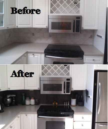 Diy Temporary Vinyl Tiled Backsplash Using L And Stick Tiles Kitchen Renovation