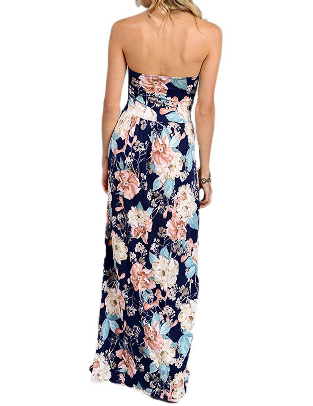 Liebeye Women Wrap Chest Casual Floral Dress Empire Waist Strapless Sleeveless Maxi Dress Long Skirt For Par Floral Dress Casual Boho Maxi Dress Casual Dresses [ 1300 x 1001 Pixel ]