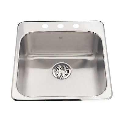 Kindred QSL2020/8 Steel Queen Topmount 20-in Single Kitchen Sink ...