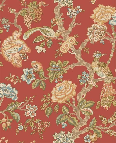 Wa7735 Waverly Classics Red Casa Blanca Rose Floral Wallpaper Totalwallcovering Com Waverly Wallpaper Embossed Wallpaper Rose Wallpaper