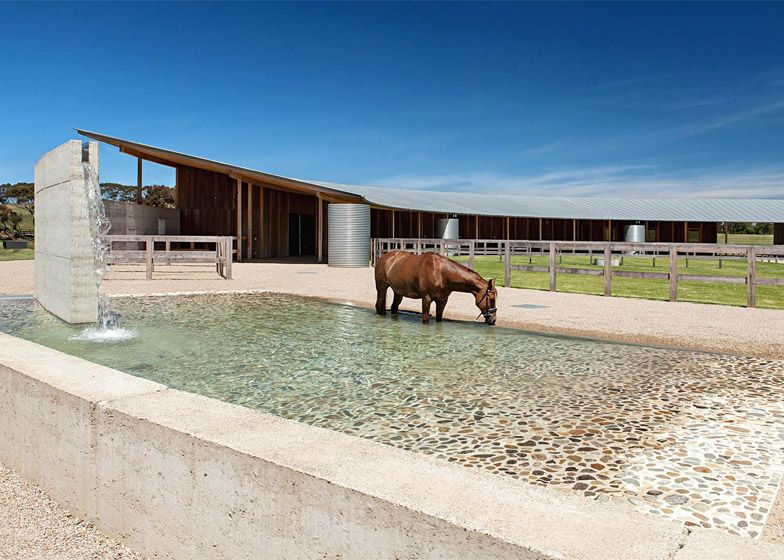 Australian equestrian centre has a curving rammed earth wall rammed earth architecture and horse - The rammed earth hacienda ...