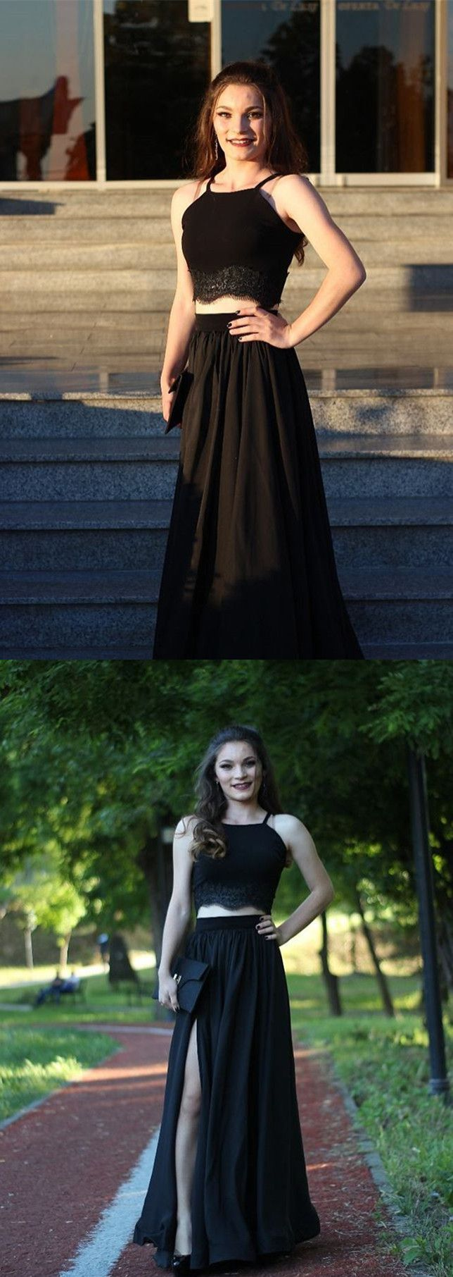 Two piece long prom dress prom dress black prom dress prom