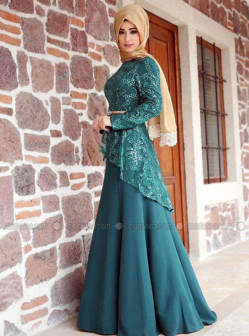 Peplum Evening Dress - Green - Zehrace | Muslimah Fashion & Hijab ...