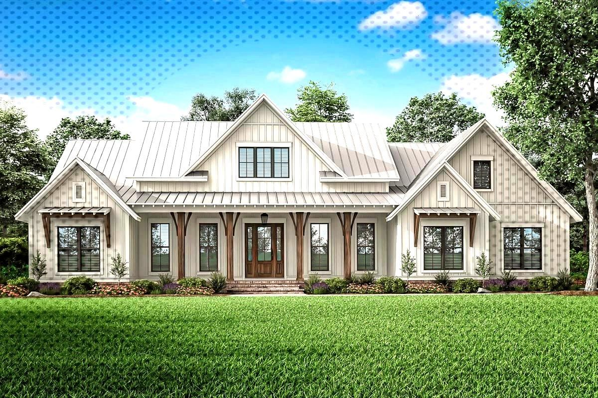 Expanded 3-Bed Modern Farmhouse with Optional Bonus Room - 51814HZ   Architectural Designs - House