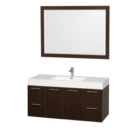 Wyndham Collection Amare 48 inch Single Bathroom Vanity in Espresso with Acrylic Resin Top and Integrated Sink, and 46 inch Mirror, Brown
