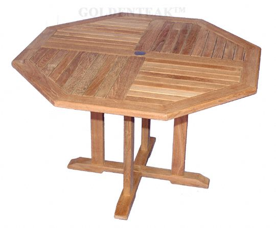Teak Octagon Dining Table Dia 51 Inch 48 Inch Between Flats