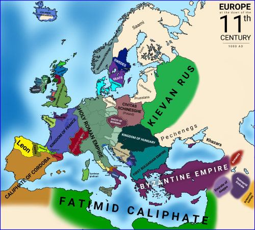 map of 11th century europe Europe at the turn of the 11th century.   11th century, Europe