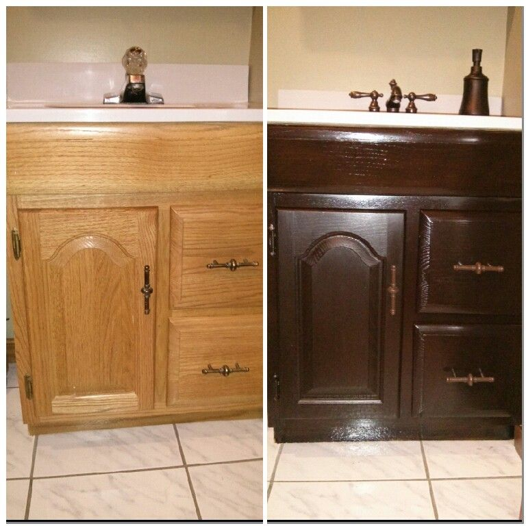 Like New Bathroom Vanity! General Finishes Java Gel Stain X 3 Coats And  Then Poly