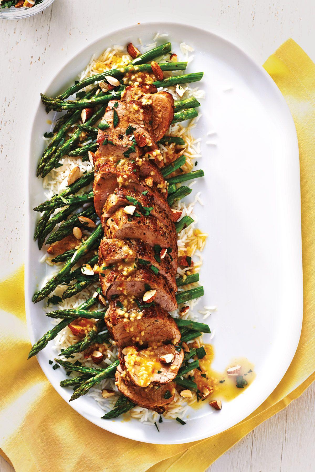 Pork Tenderloin With Roasted Asparagus and Warm Citrus Sauce | Canadian Living