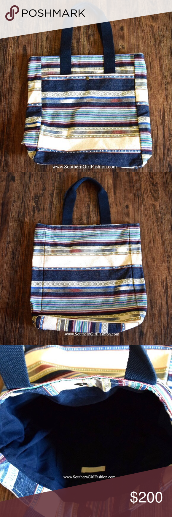 82f7215b0db7 STRIPED TOTE Bohemian Big Book Bag Large Carryall One Size. New in  packaging. •