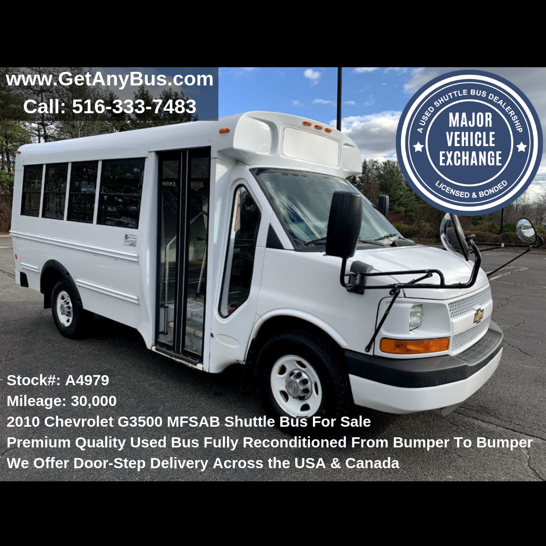 Preownedbuses Stock A4979 2010 Chevrolet G3500 Mfsab Shuttle Bus Forsale Visit Https Getanybus Com Call Buses For Sale Used Bus Shuttle Bus For Sale