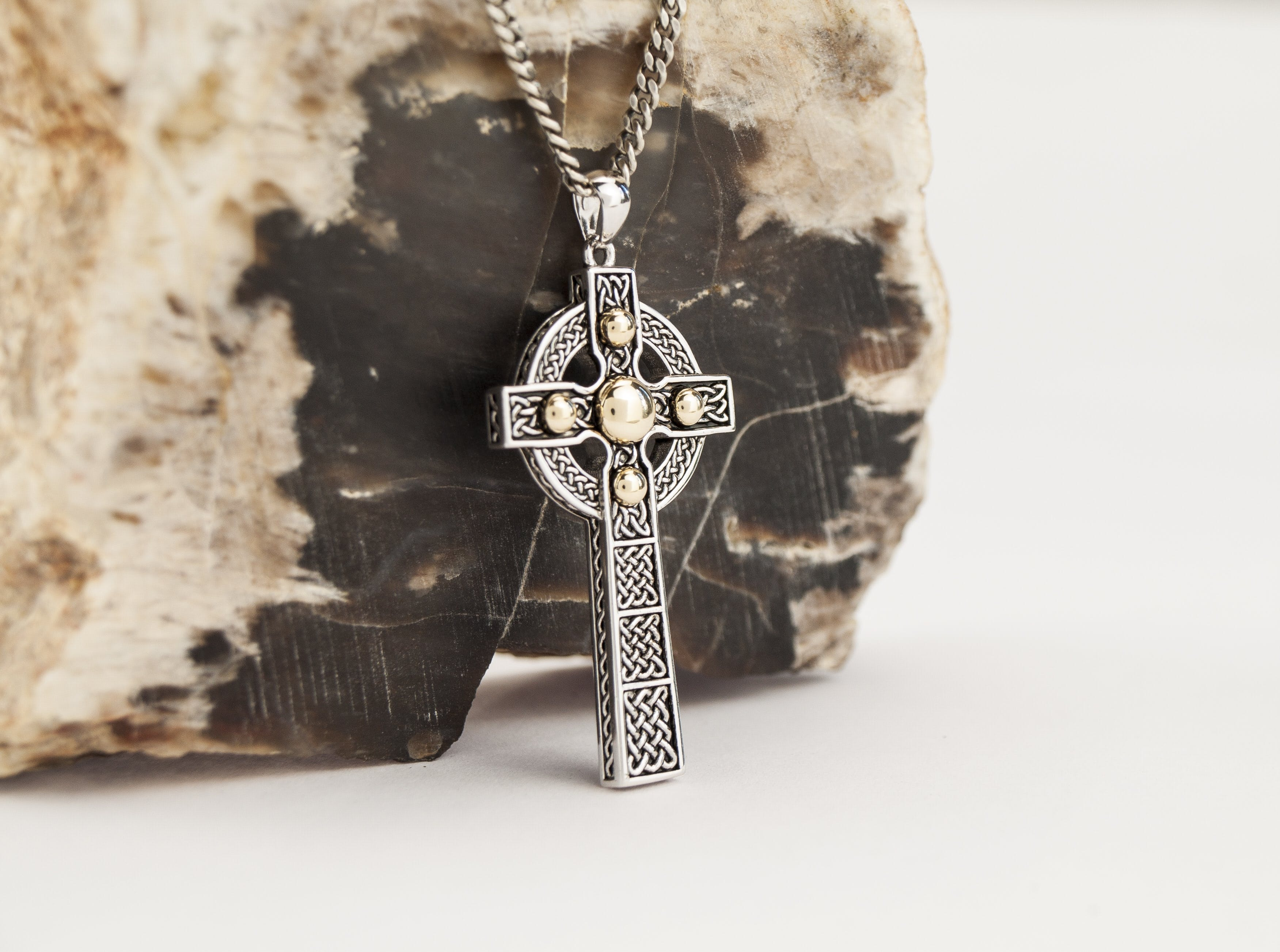 Silver Oxidized Celtic Cross Necklace With 10k Gold Studs Made In Cross Necklace Silver Mens Celtic Cross Necklace Cross Jewelry