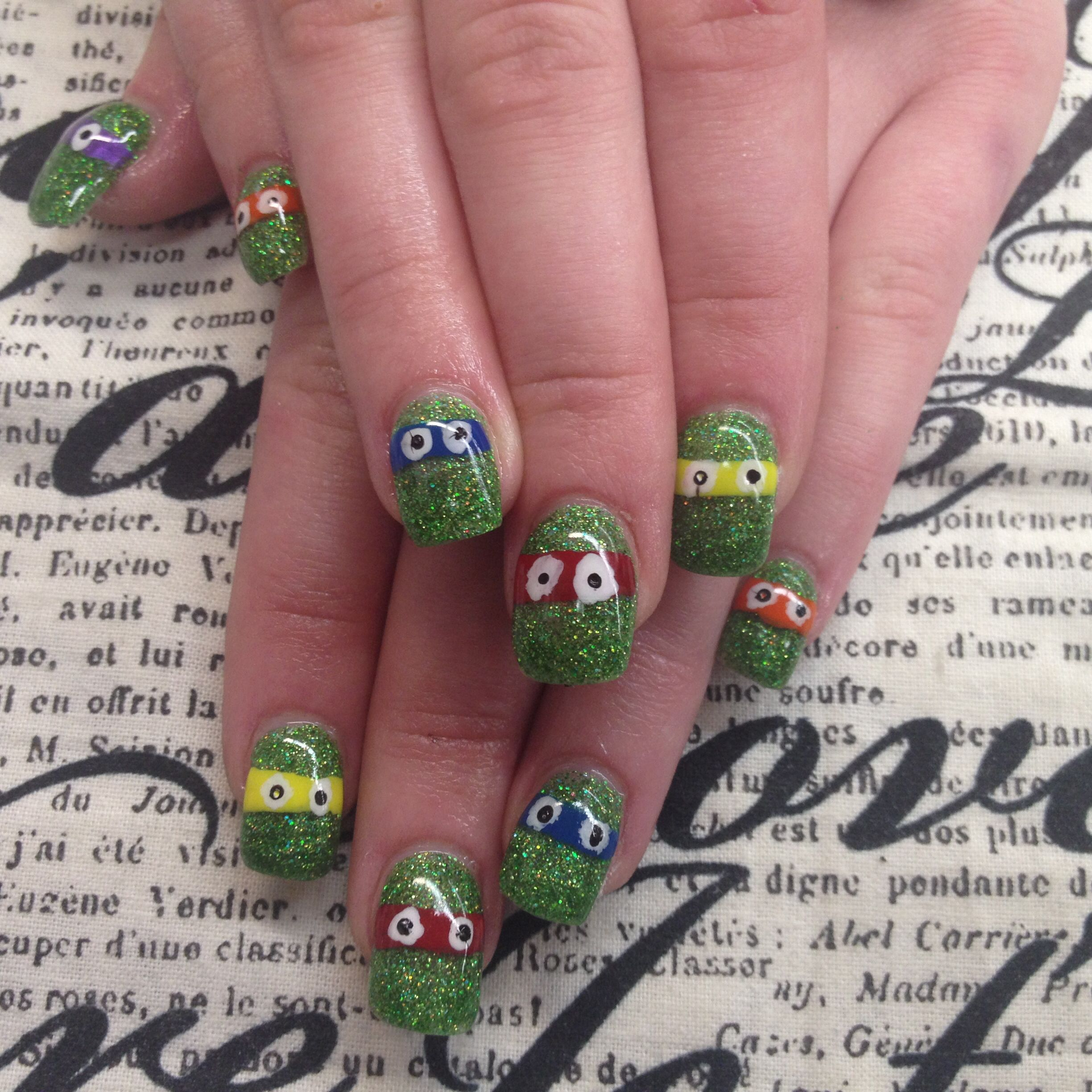 Ninja turtle nails | Nail design | Pinterest | Ninja turtle nails ...