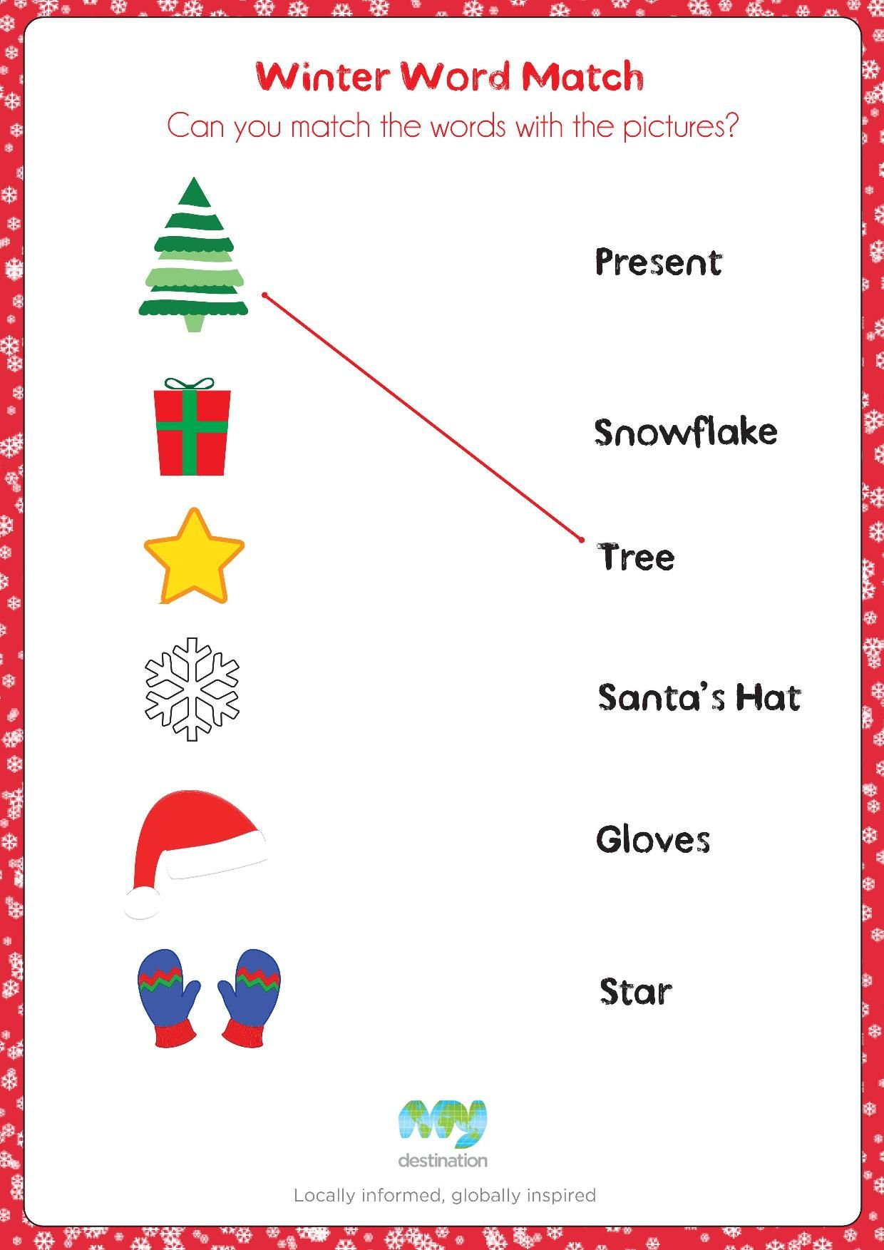 Winter Word Match. Download this puzzle for free at the