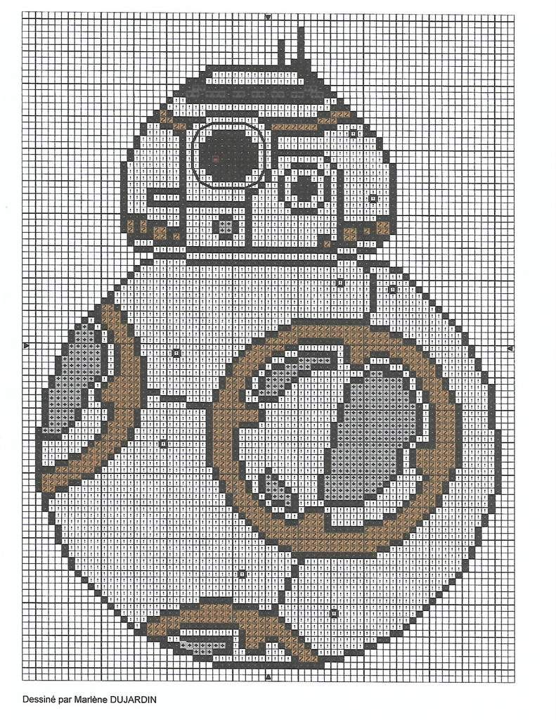 Grille gratuite Star Wars : BB8 | Pinterest | Punto de cruz ...