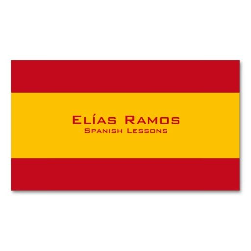 Spanish Flag Business Cards Spanish Teacher Cards Kartvizitler