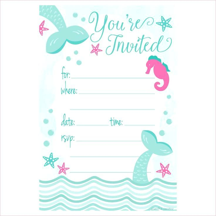 Mermaid Invitation Template Mermaid Birthday Party Invitations Mermaid Birthday Invitations Free Party Invite Template
