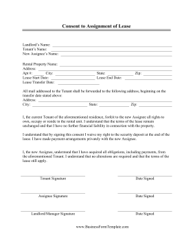Landlords Can Use This Free Printable Consent To Assignment Of Lease Contract Tenants Who Want To Sublet Their Apartme Being A Landlord Lease Apartment Lease