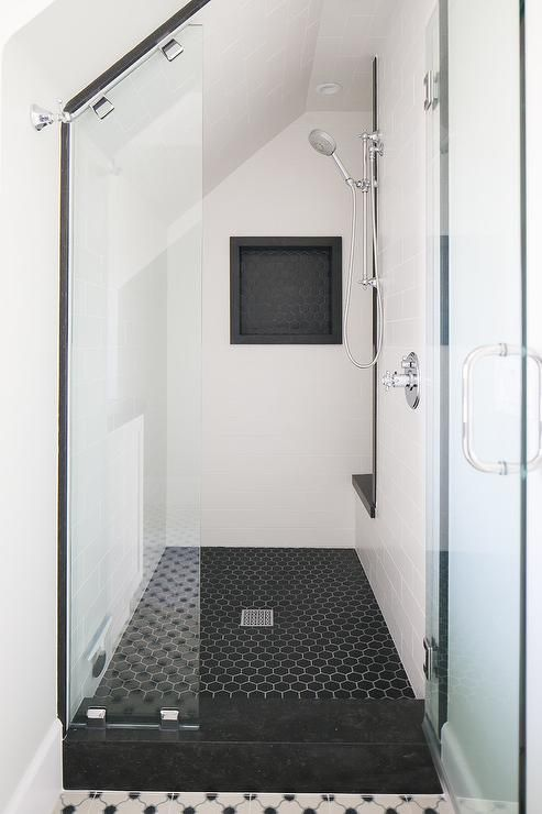 Chic Black And White Walk In Shower Boasts Black Hex Floor