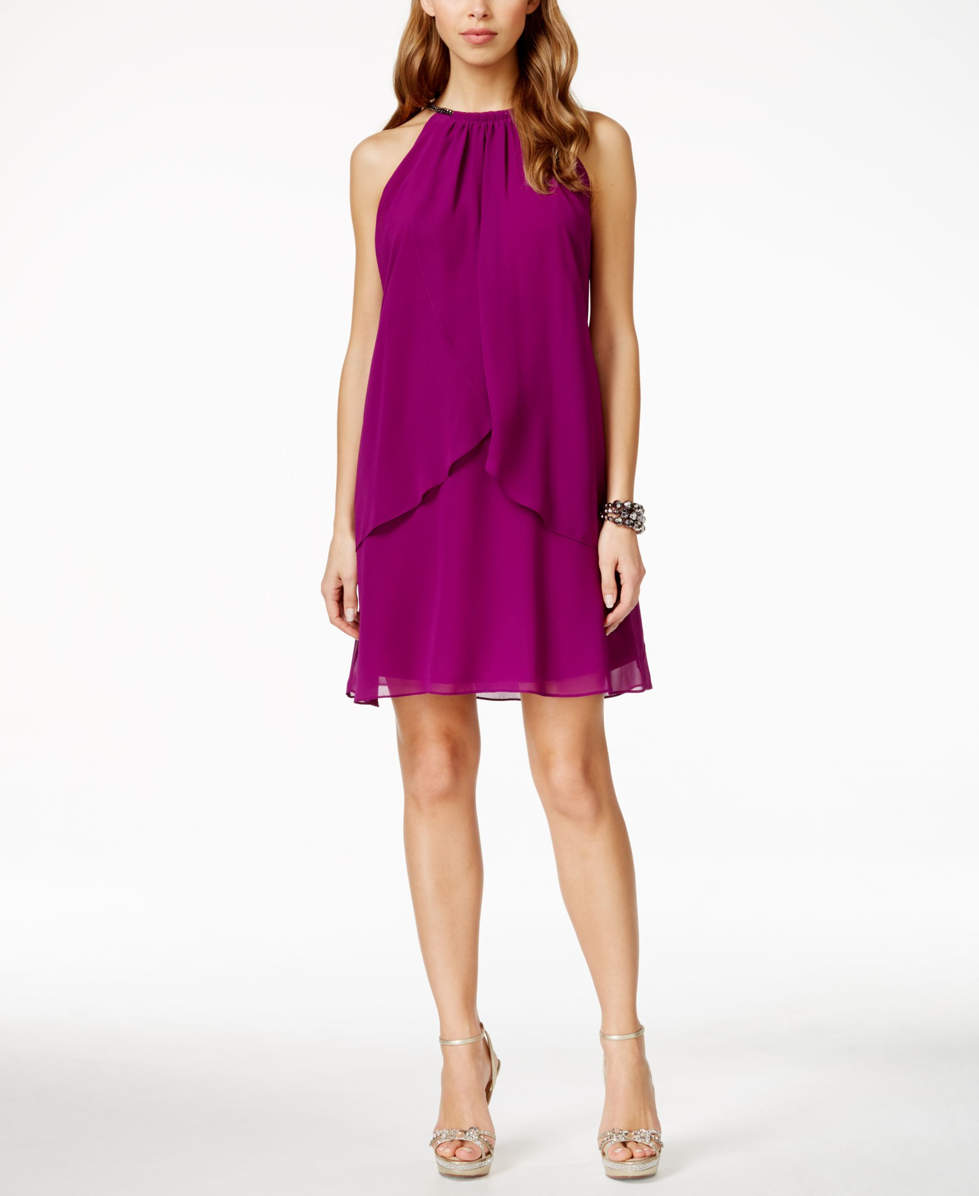 Style & Co. Ripe Plum Flyway Embellished Shift Dress, Only at Macy\'s ...